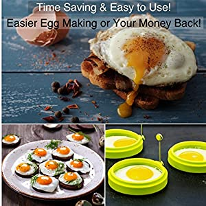 Premium Silicone Egg Ring / Pancake Mold. Make Easy, Time-saving, Professional Looking Breakfasts Every Time with Our Non Stick Egg Cooker. Box of 3 Round Nonstick Egg Rings - Bonus Pdfs 'Cooking Ring Recipes' & 'Tips on Using Egg / Pancake Rings'
