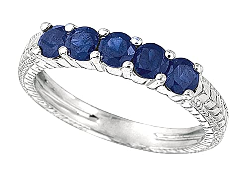 0.75 carat Round sapphire 5 stones wedding ring band white gold 14K jewelry