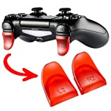 eXtremeRate 2 Pairs L2 R2 Buttons Extention Trigger Extenders for Playstation 4 PS4 Controller JDM-030 - Transparent Red (Color: Clear Red, Tamaño: JDM-030)