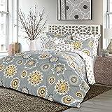 Lush Decor 7 Piece Adrianne Comforter Set, King, Yellow/Gray