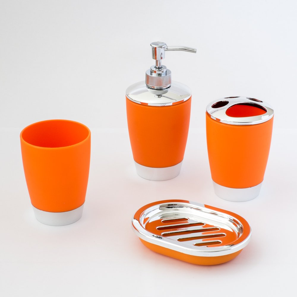 Justnile 4 Piece Bathroom Accessory Set Fashion Plastic Orange Ebay