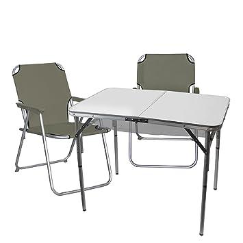 3 pi ces table pliante pliante en aluminium 90x60xh70cm 2x chaise pliante pliante. Black Bedroom Furniture Sets. Home Design Ideas