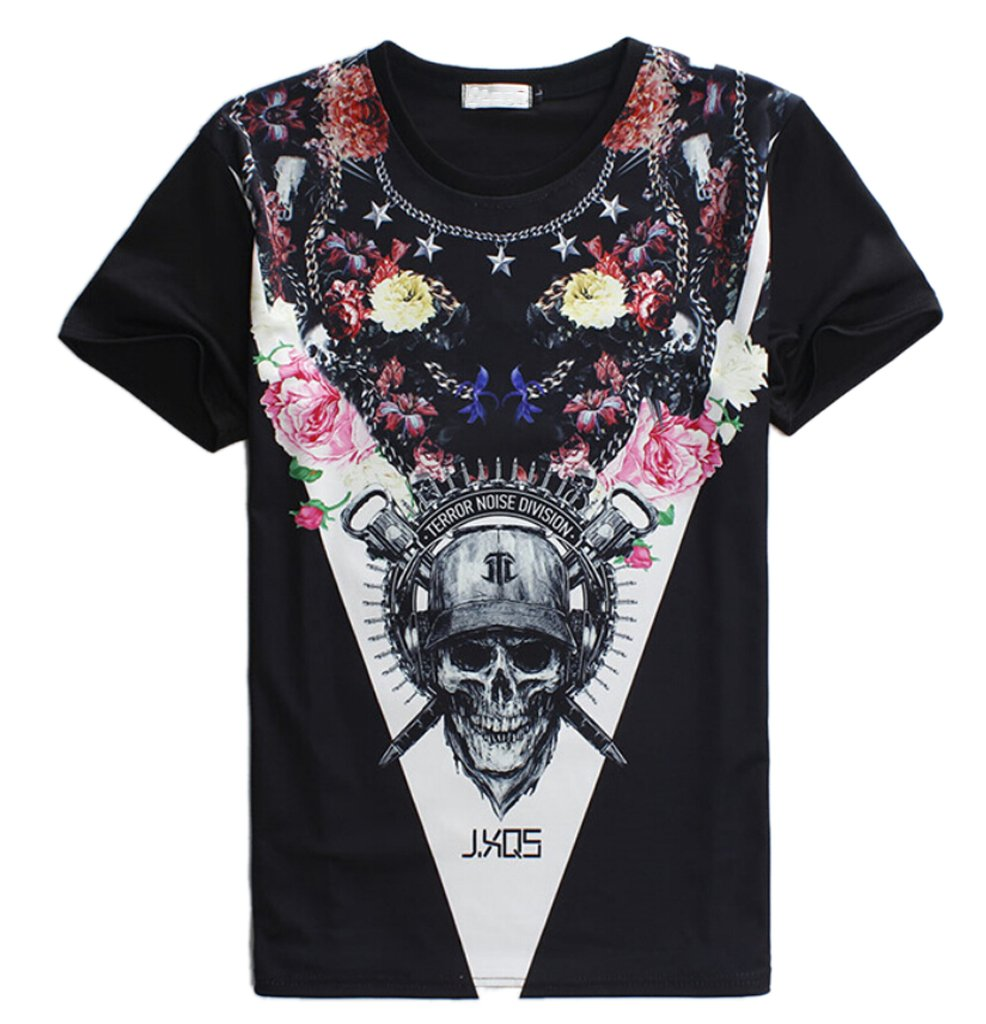 Men's Hip hop Rock Punk T-Shirt Slim Cotton Skull Tee Tops Gift