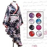 帯付きななめカットフリル花魁着物ロングドレス 大きいサイズ レディース 長袖 ワンピース