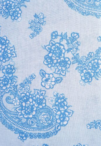 """Laura Ashley Blue And White Floral Paisley Fabric Shower Curtain 100% Cotton 72"""" X 72"""" (Kingsley) front-978410"""