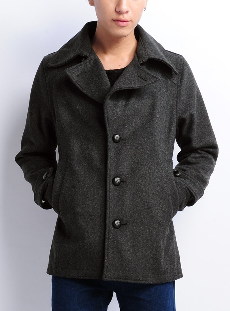 (ベストマート)BestMart ウール30% メルトン シングルコート メンズ ジャケット ブルゾン 英国スタイル ロング 605645