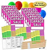 Garage Sale Sign Kit with Pricing Stickers and Wood Sign Stakes (A802G)