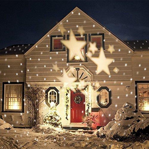GAXmi-LED-Landschaft-Scheinwerfer-Fee-Sterne-Muster-Garten-Mauer-Weihnachten-Hochzeit-Draussen-Wasserdicht-projektiert-Beleuchtung-Spotbeleuchtung-Weich-Wei
