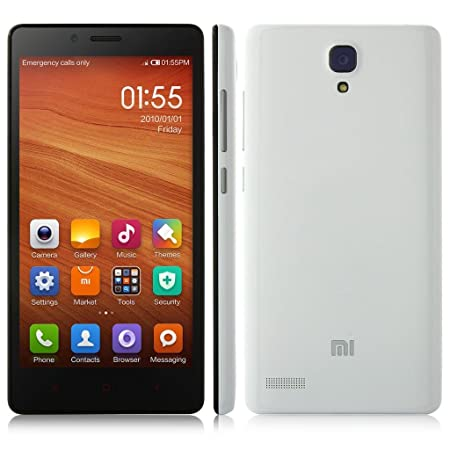 Xiaomi Redmi Hongmi Smartphone 4G LTE-Version MIUI V6 Android 4.4 Quad-Core Qualcomm Snapdragon 410 5,5-pouces HD IPS-écran 1 Go + 8 Go 5.0MP caméra 13.0MP OTG F2.2 3100mAh blanc