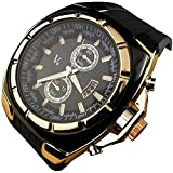 YouYouPifa® Fashion Luxury Rubber Strap Quartz Sports Wrist Watch (Gold)
