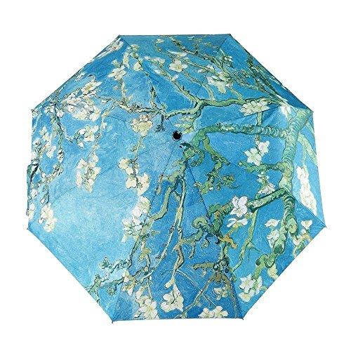 Folding Umbrella WAYCOM Van Gogh Ölgemälde Meisterwerk Compact Parasol - Sonnenschutz Anti-UV-Regenschirm für Frauen