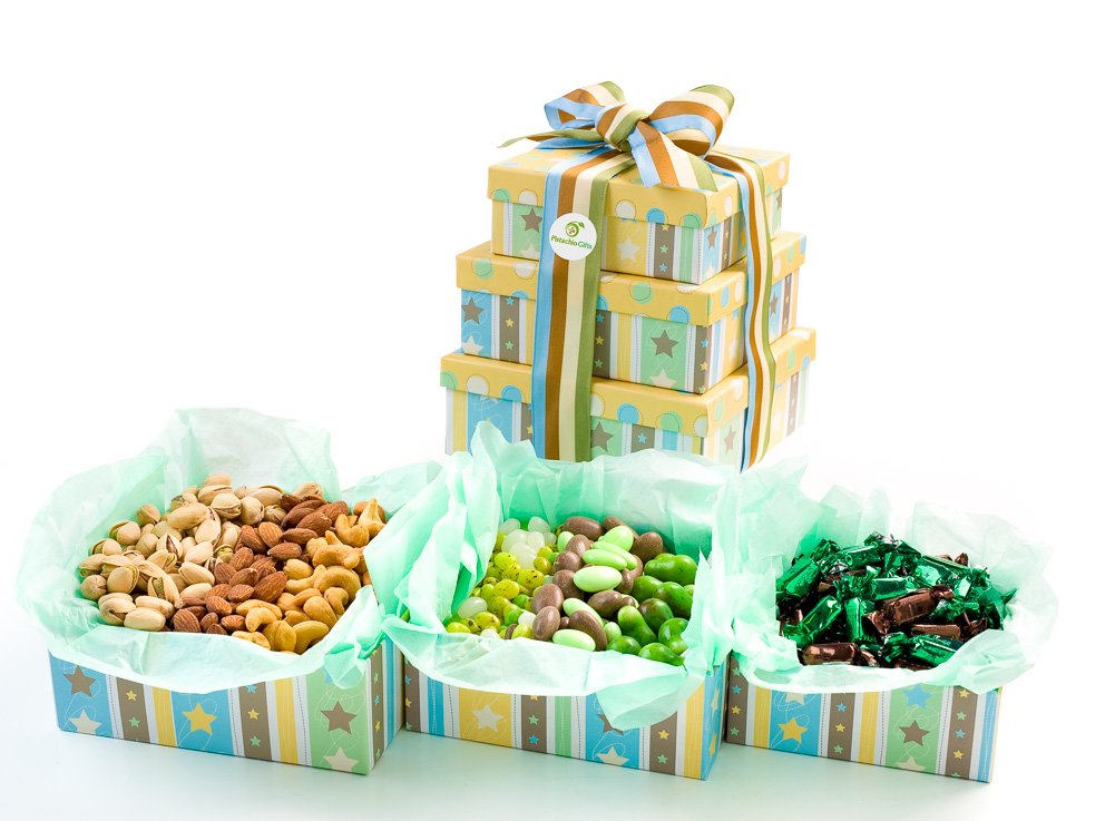 Pistachio Gifts® Summer Time Sweet & Savory Nuts & Candy 3 Tier Gift Tower