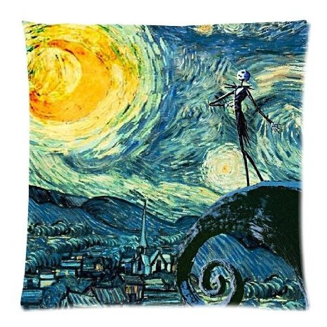 Starry Night and the Nightmare Before Christmas Printed Custom Pillow Case Decorative Cotton Zippered Throw Pillow Case Cushion Covers for Sofa Square 16x16 Inch Two Sides Great Gift