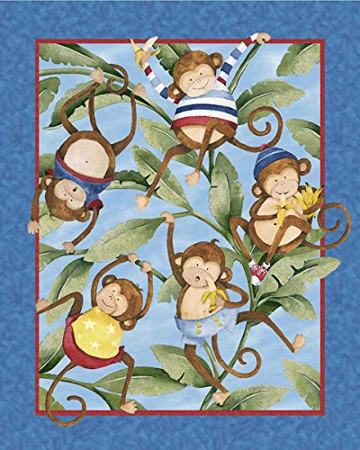 Springs Creative Monkey Business 100-Percent Cotton Decorative Fabric Quilt Panel, 43/44-Inch/15-Yard front-87515