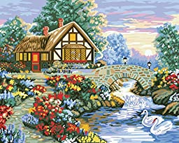 [ New Release ] Diy Oil Painting by Numbers, Paint by Number Kits - Spring Scene Beautiful Flowers 16*20 inches - Digital Oil Painting Canvas Wall Art Artwork Landscape Paintings for Home Living Room Office Christmas Decor Decorations Gifts - Diy Paint by