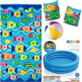 Intex Kiddie Pool 45 Inches, Intex Inflatable Arm Floats, Intex Inflatable Beach Ball Bundled With A Fun Fish...