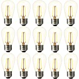 2w S14 Led Edison Light Bulbs Outdoor-BRIMAX 11w Incandescent Filament Bulb Replacement-2700K Bright Warm White Dimmable, E26 Base Clear Glass-for Outdoor Patio String Light, Lantern lamp-15pack (Color: Warm White, Tamaño: S14-15pack)