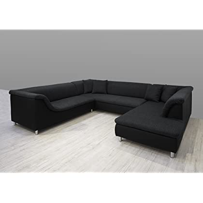 Dreams4Home Polsterecke Loree; Sofa Wohnlandschaft Ecksofa Couch XXL U-Form grau schwarz, Aufbauvariante:Ottomane rechts davorstehend günstig online kaufen