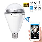 1080P WiFi Light Bulb Camera,HD Wireless IP Lamp Camera Home Security System Night Vision Dual Control VR Panoramic 360 Degree Fisheye, Nanny Cam with Motion Detection for Android IOS APP Remote View (Color: Sliver3)