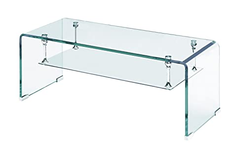 Rainbow Home Furniture CT-386 Bent Glass Rectangular Coffee Table, Clear