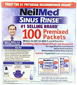 NeilMed's Sinus Rinse Pre-Mixed Packets, 100-Count Boxes (Pack of 2)