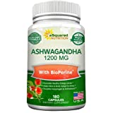 Pure Ashwagandha 1200mg with BioPerine - 180 Vegan Capsules - Ashwagandha Root Powder Supplement w/Black Pepper Extract for Anxiety & Stress Relief - Pills to Support Mood, Immune & Thyroid