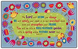 Flagship Carpets Kids Learning Essential God\'S Garden Isaiah 58:11 Educational Rug Nylon Rectangle 4\' x 6\'