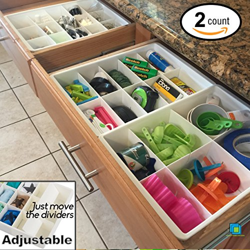 Adjustable Drawer Dividers for Utility & Junk Drawer Kitchen and Office Storage & Organization by Uncluttered Designs (2 Pack)