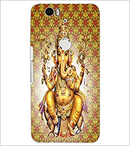 PrintDhaba Lord Ganesha D-4730 Back Case Cover for HUAWEI NEXUS 6P (Multi-Coloured)