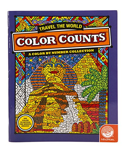 "MindWare - Color Counts Travel the World - 11 Unique Puzzles With Up To 10 Color Directions - Teaches Creativity and Fosters Imagination - Includes 10"" x 15"" Fold-Out Designs"