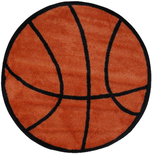 Roule Fun Time Shape Collection Basketball 39 Inch Diameter Kids Area Rugs