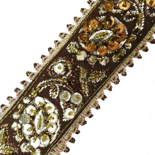 Brown Beaded Trim Sequin Decorative Border Lace Sewing Craft India 3 Yd