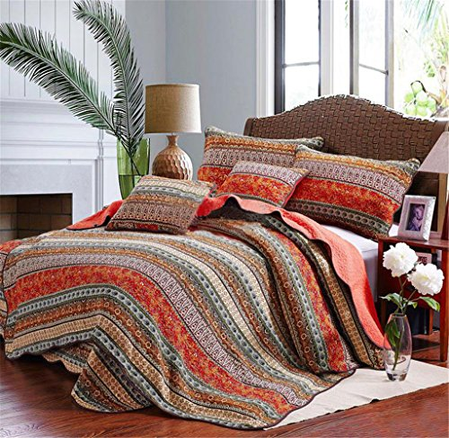 Best Striped Classical Cotton 3-Piece Patchwork Bedspread/Quilt Sets ,Queen (Quilts Sale compare prices)
