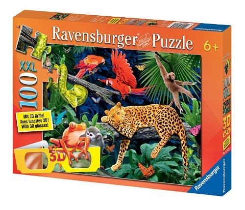 Wild Jungle 100 Piece Cromadepth Puzzle With 3D Glasses