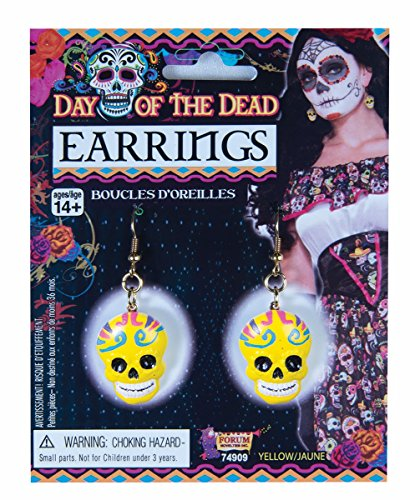 Day of the Dead Yellow Sugar Skull Earrings By Dazzling Costumes