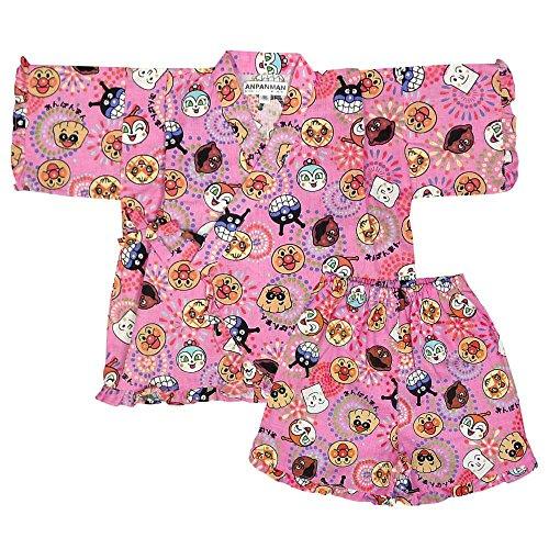 アスナロ(甚平) 甚平 ベビー 男の子 女の子 アンパンマン プリント 日本製 綿100%95 ピンク