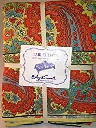 April Cornell Paisley Peach Blue Tablecloth 60\