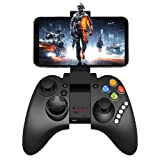 Mobile Game Controller, PowerLead PG9021 Mobile Gaming Wireless Bluetooth Controller Gamepad Supports Android 3.2 Above System/PC (Color: Black)