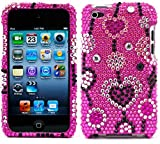 BASTEX Thin Diamond Rhinestone Protective Case for Apple iPod Touch 4th Generation - 8GB,16GB and 32GB - Pink Love River