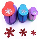 TECH-P Set of 3PCS (2 inch+1.5 inch+1inch) Craft Punch Set Paper Punch Paper Punch Tool Eva Punches for Making Arts Crafts Projects Cards Scrapbooking Garland Hanging Decorations (Snowflake) (Color: Snowflake)