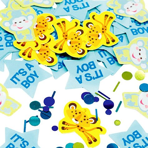 Amscan Adorable Fisher Price Baby Shower Party Decoration It's a Boy Confetti, 1.2 oz, Orange/Blue
