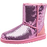 Kids Pink Ugg Junior Girls Classic Short Sparkle Boots Lipgloss