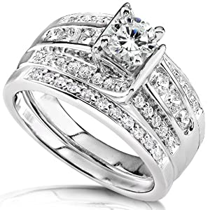 1 Carat TW Round Brilliant Diamond Wedding Set in 14k White Gold - Size 7 by Diamond-Me