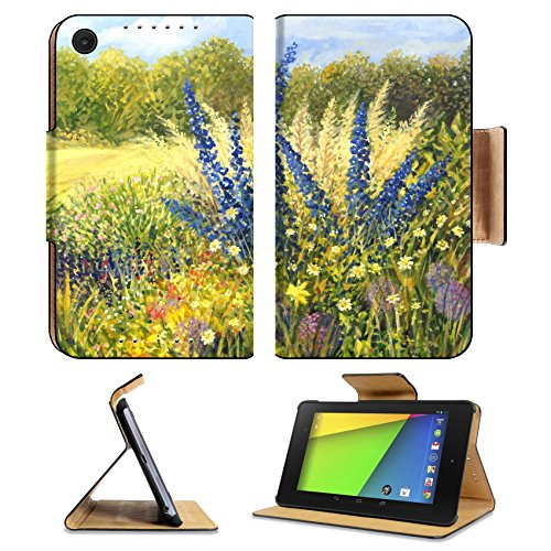 Asus Google Nexus 7 2nd Generation Tablet Flip Case Vibrant wild flowers with beautiful blue Delphiniums in a bright sunny day painted IMAGE 16859890 by MSD Customized Premium Deluxe Pu Leather genera