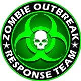 "Zombie Outbreak Response Team Green Skull Vinyl Decal Sticker 5"" Color"