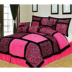 7Pcs Queen Giraffe/Zebra Pink and Black Micro Fur Comforter Set