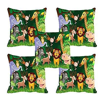 Multi Jungle Safari Digitally Printed Cushion Cover 16x16