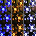 Solar LED String Lights, 39.1ft, 100 Led Blue Flower, 9+ Hours Illumination, Waterproof, Outdoor Solar Fairy Lights, Christmas Lights, Ambiance Lights, Party Wedding Decorations