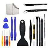 Kaisi Ultrathin Steel Professional Opening Pry Tool Repair Kit with Non-Abrasive Nylon Spudgers and Anti-Static Tweezers, 20 Piece Repair Tool Set (Color: 20 in 1 LCD Screen Opening Kit)