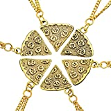MJartoria Women's Antique Gold Color Pizza Slice Friendship Necklace Set of 6